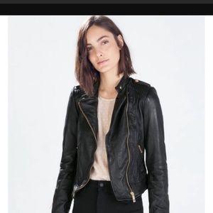 Zara leather moto jacket rose gold hardware